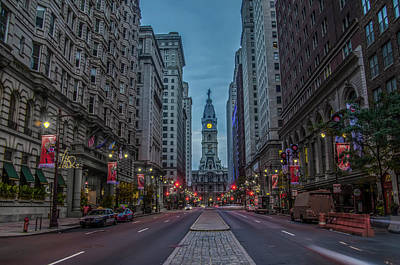 City Hall Digital Art - Early Morning Broad Street by Bill Cannon