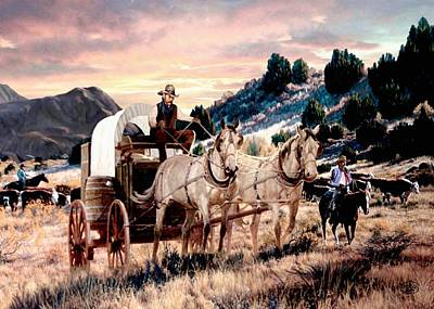 Team Or Horses Painting - Early Morning Drive by Ron Chambers