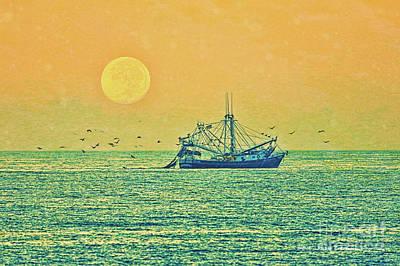 Mixed Media - Early Morning Fishing by Deborah Benoit
