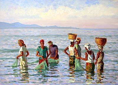 Net Painting - Early Morning Fishing by Roelof Rossouw