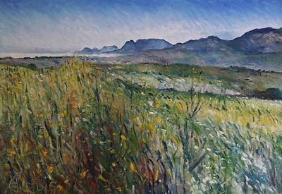 Painting - Early Morning Fog In The Foothills Of The Overberg Range Of Mountains Near Heidelberg South Africa. by Enver Larney