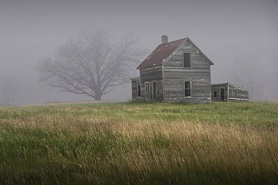 Photograph - Early Morning Fog With Abandoned Farm House by Randall Nyhof