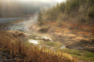 Photograph - Early Morning Fog Yellowstone Np by Stacey Sather