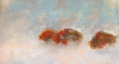 Buffalo Drawing - Early Morning Herd by Frances Marino