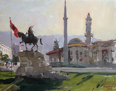 Clock Painting - Early Morning In Tirana by Ylli Haruni
