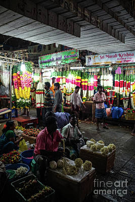 Photograph - Early Morning Koyambedu Flower Market India by Mike Reid