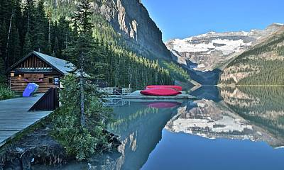 Photograph - Early Morning Lake Louise by Frozen in Time Fine Art Photography