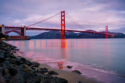 Photograph - Early Morning Lights Of The Golden Gate - San Francisco by Gregory Ballos