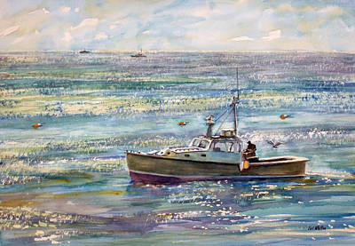 Painting - Early Morning Lobstering - Gloucester by Carl Whitten