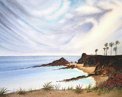 Early California Landscape Painting - Early Morning Low Clouds, Laguna Beach by Janice Sobien