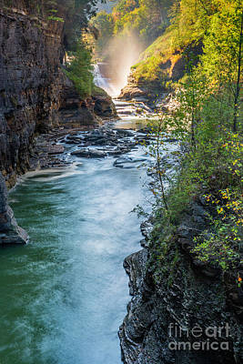 Photograph - Early Morning Lower Falls Of Genesee Gorge by Karen Jorstad