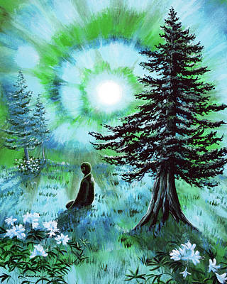 Azalea Painting - Early Morning Meditation In Blues And Greens by Laura Iverson