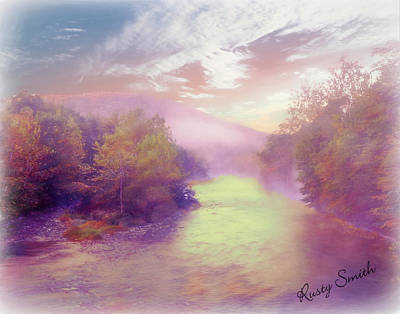 Digital Art - Early Morning Mist Off A River Running Through Autumn Forest. by Rusty R Smith