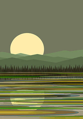Early Morning Moon Art Print by Val Arie