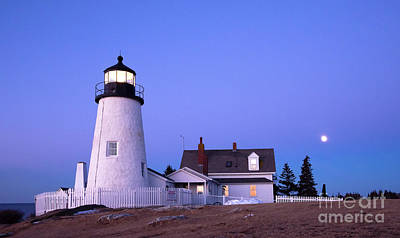 Photograph - Early Morning Moonset, Pemaquid Light, Bristol, Maine  -81346 by John Bald