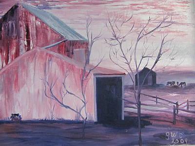 Early Morning On A Horse Farm Art Print by Gloria Condon