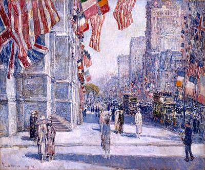 Art Print featuring the painting Early Morning On The Avenue In May 1917 - 1917 by Frederick Childe Hassam