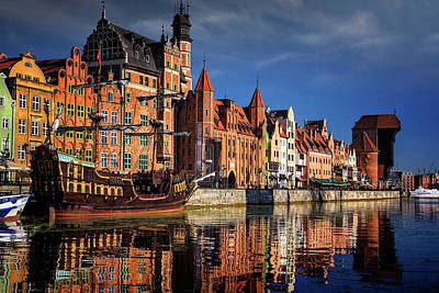 Early Morning On The Motlawa River In Gdansk Poland Art Print