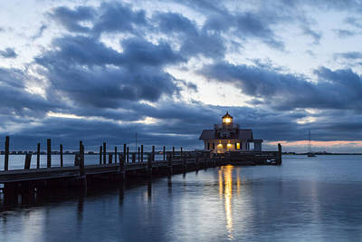Photograph - Early Morning Over Roanoke Marshes Lighthouse by Liza Eckardt