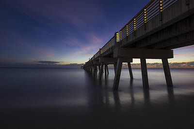 Sunset At The Bridge Photograph - Early Morning Pier by Debra and Dave Vanderlaan