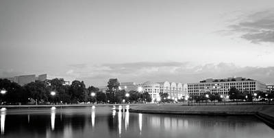 Government Photograph - Early Morning Reflection In Washington D.c. Black And White by Greg Mimbs