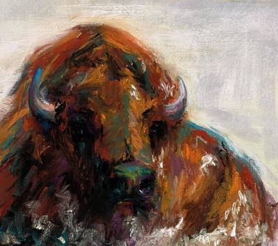 Bison Drawing - Early Morning Sunrise by Frances Marino