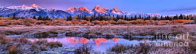Photograph - Early Morning Teton Reflections Panorama by Adam Jewell