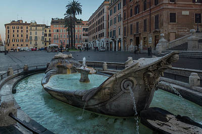 Photograph - Early Morning Turquoise - Fontana Della Barcaccia At The Spanish Steps In Rome by Georgia Mizuleva
