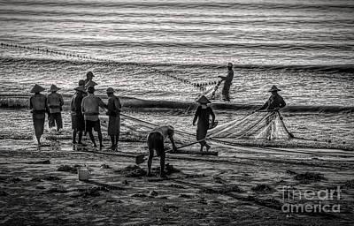 Photograph - Early Morning Vietnamese Gathering Nets Hai Hau  by Chuck Kuhn