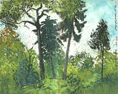 Painting - Early September Forest Scenery, Gouache In Sketchbook by Martin Stankewitz