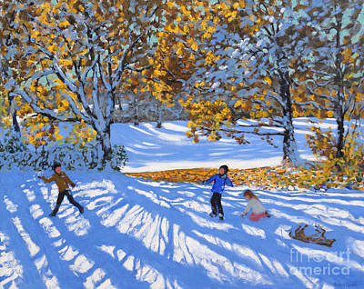 Snowball Fights Painting - Early Snow, Allestree Park by Andrew Macara