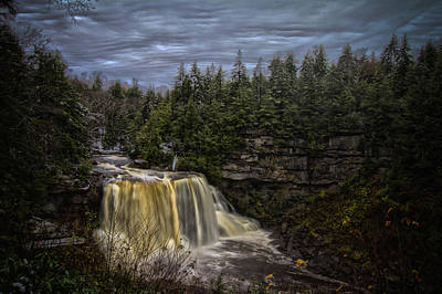 Early Snow At Black Water Falls Art Print