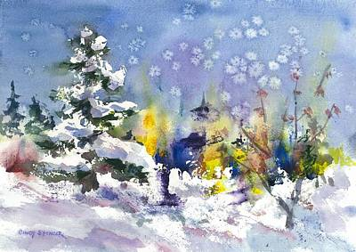 Maine Winter Painting - Early Snow by Cindy Spencer