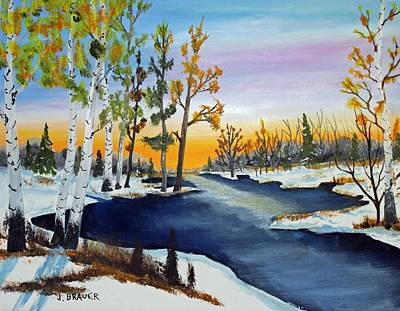 Jack Brauer Painting - Early Snow Fall by Jack G Brauer
