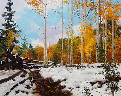 Landscape Oil. Aspen Trees Painting - Early Snow Of Santa Fe National Forest by Gary Kim