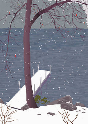 Wall Art - Painting - Early Snowfall by Marian Federspiel