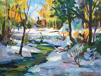 Fine Art Choices Painting - Early Snowfall Plein Aire  by David Lloyd Glover