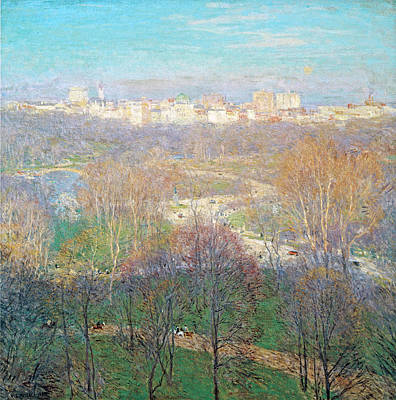 Photograph - Early Spring Afternoon Central Park 1911 by Willard Metcalf