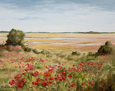 Marsh Scene Painting - Early Spring Poppies by Glenda Cason