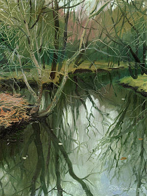 Painting - Early Spring River by Sergey Zhiboedov
