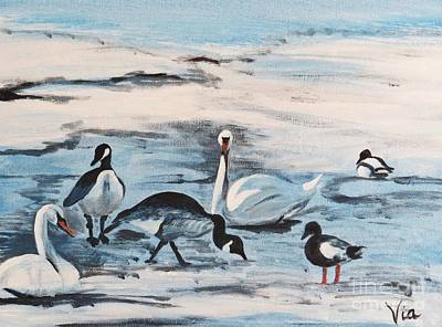 Early Spring Thaw With Ducks And Geese Art Print by Judy Via-Wolff