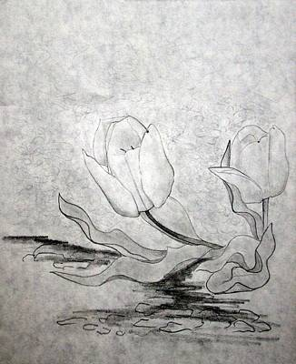 Early Spring Drawing - Early Spring Tulips by J R Seymour