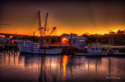Early Start Reflections Shrimp Boat Art Tybee Island Art Print by Reid Callaway