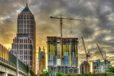 Tower Crane Photograph - Early Start Skyscraper Construction Atlanta Georgia Art by Reid Callaway