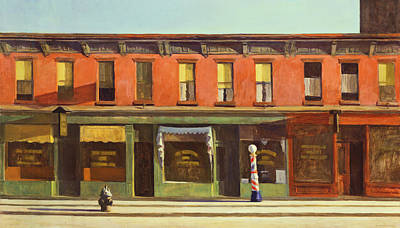 Shop Window Painting - Early Sunday Morning by Edward Hopper