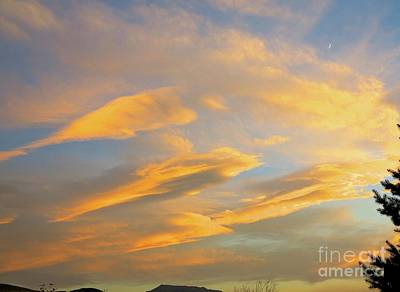 Photograph - Early Sunset And Quarter Moon by Phyllis Kaltenbach