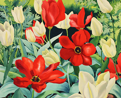 Blooming Painting - Early Tulips by Christopher Ryland