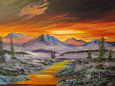 Painting - Early Winter Sunset by Dave Farrow