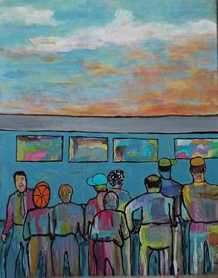Early Workers Waiting On The Train Original