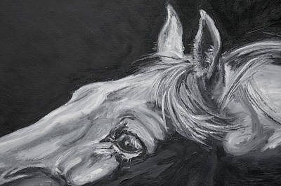 White On Black Painting - Earnest Eyes - Detail by Renee Forth-Fukumoto